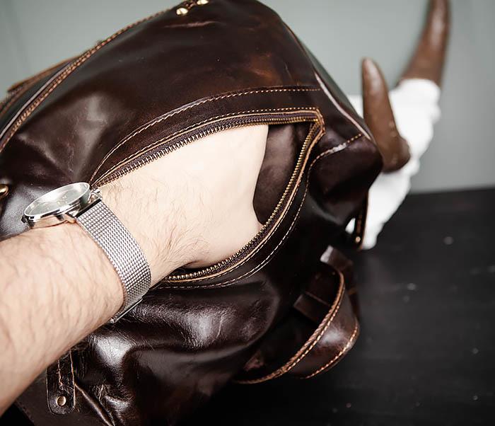 BAG461-2 Большой мужской рюкзак из натуральной кожи фото 12