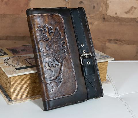 BC120-2 Мужской подарочный ежедневник ручной работы с гербом на обложке