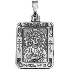 Святой Михаил. Нательная икона посеребренная.