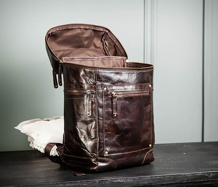 BAG461-2 Большой мужской рюкзак из натуральной кожи фото 13
