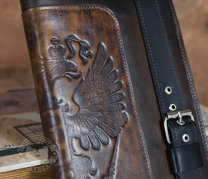 BC120-2 Мужской подарочный ежедневник ручной работы с гербом на обложке фото 02