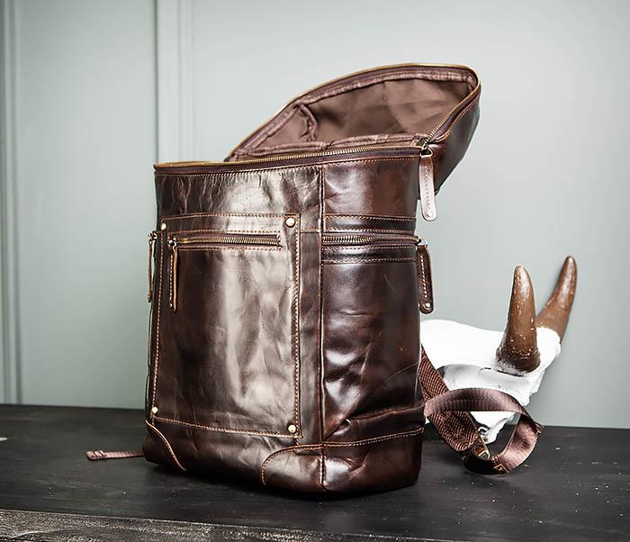 BAG461-2 Большой мужской рюкзак из натуральной кожи фото 14