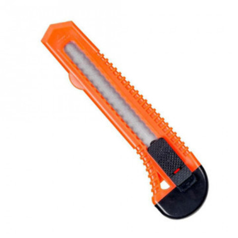 Нож канцелярский 18 мм с фиксатором, полибег, цв.в ассортименте