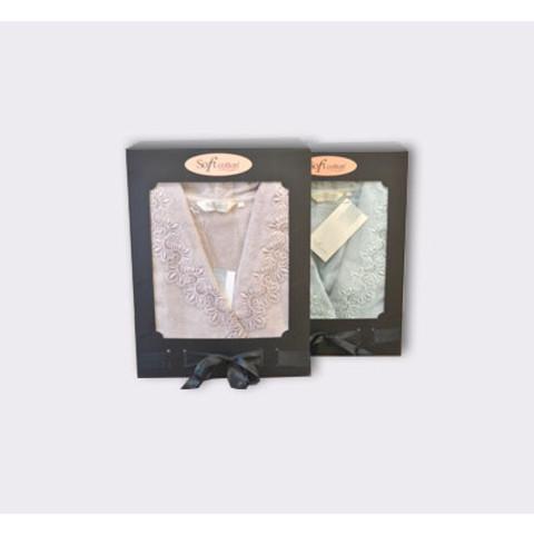 VICTORIA ВИКТОРИЯ пудра махровый женский халат Soft Cotton (Турция)