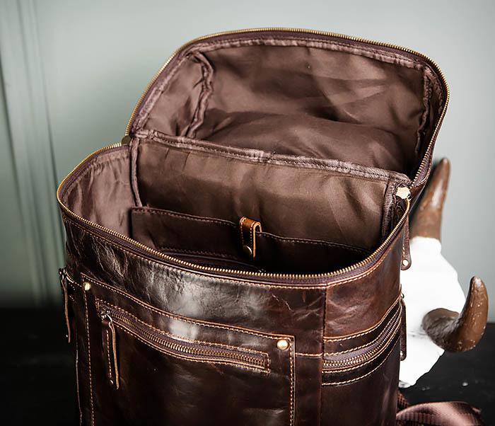 BAG461-2 Большой мужской рюкзак из натуральной кожи фото 15