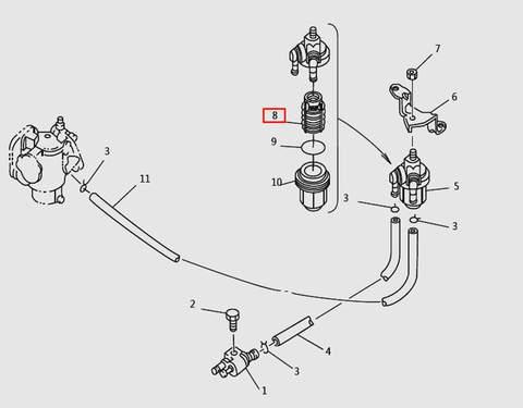 Фильтрующий элемент для лодочного мотора T9.8 Sea-PRO (6-8)