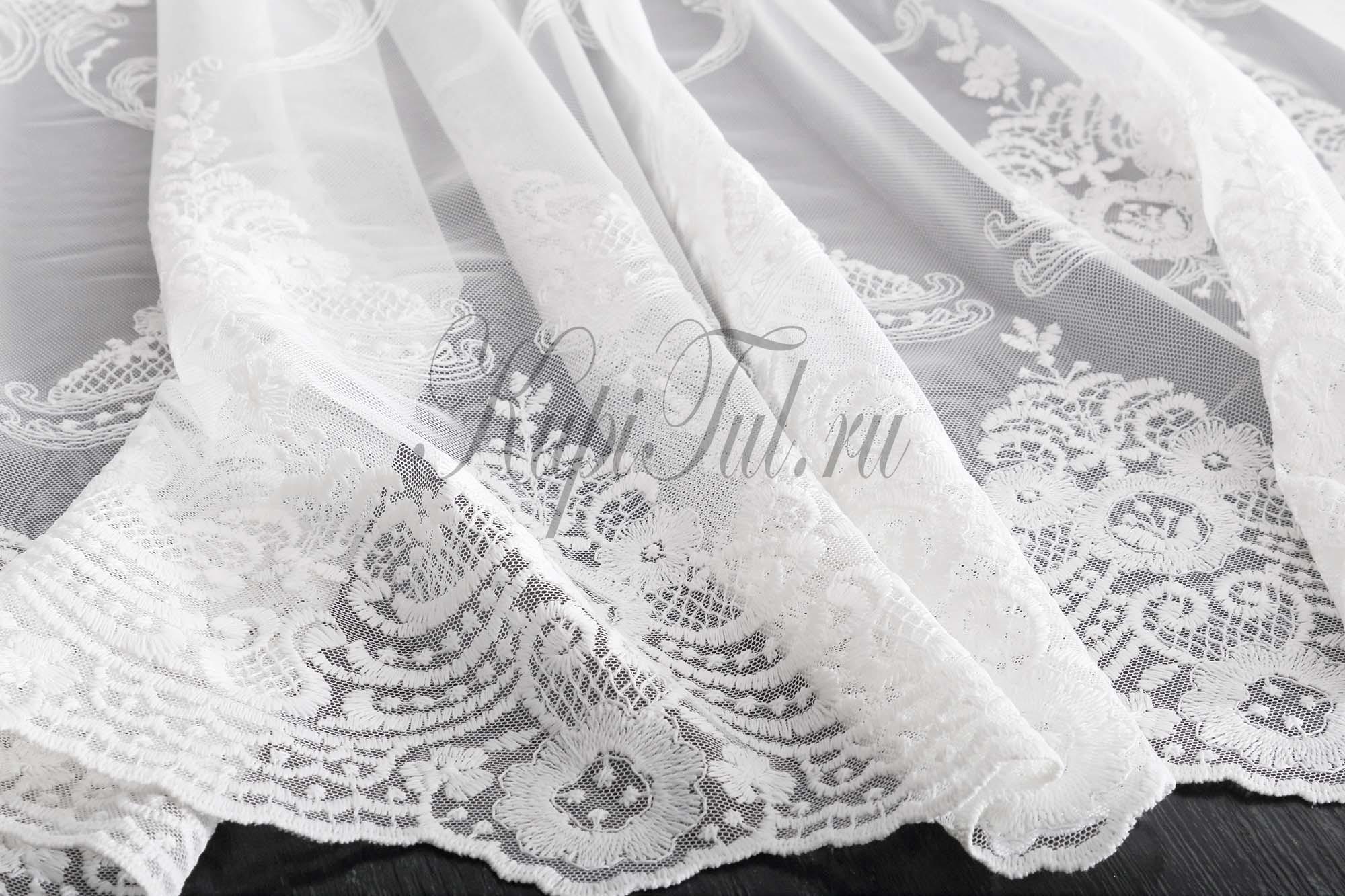 Микросетка с вышивкой Моллет (белая)