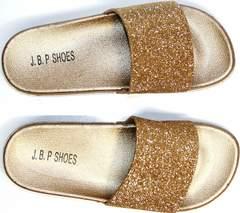 Шлепки пляжные женские J.B.P. Shoes NU25 Gold.