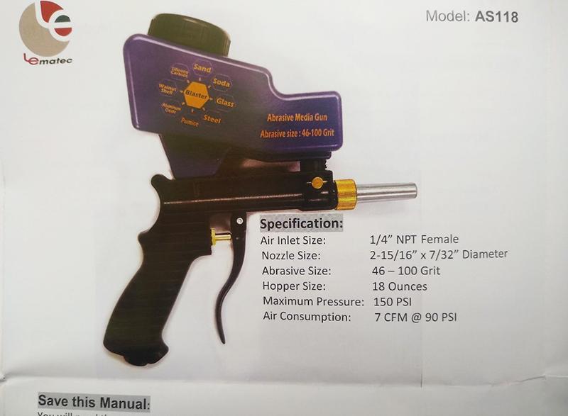 Пескоструйный пистолет с верхним бачком AS118