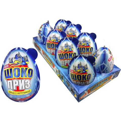Яйцо ШОКОПРИЗ MAXI для мальчиков с игрушкой, шок.-молочной пастой и печеньем 1кор*6бл*8шт 30гр.