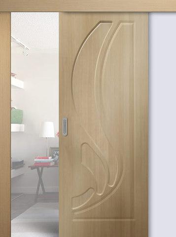 Дверь раздвижная Сибирь Профиль Лилия, цвет беленый дуб, глухая