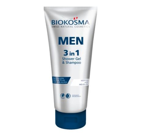 Шампунь-гель для душа 3 в 1 мужской Biokosma, 200 мл