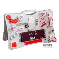 BUSYMOTIK Бизиборд двусторонний раскладной с доской для рисования