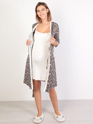 Евромама. Комплект халат и сорочка с лифом-корзинкой, шоколад