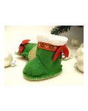 Сапожки-угги новогодние из фетра - Зеленый. Одежда для кукол, пупсов и мягких игрушек.