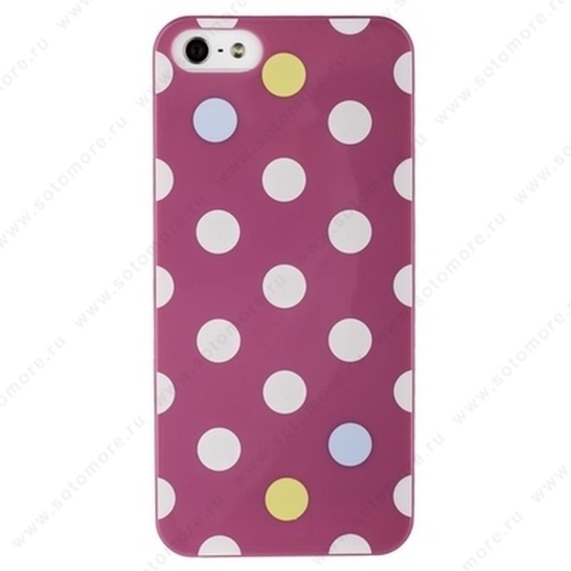 Накладка iPsky для iPhone SE/ 5s/ 5C/ 5 горошек фиолетовая