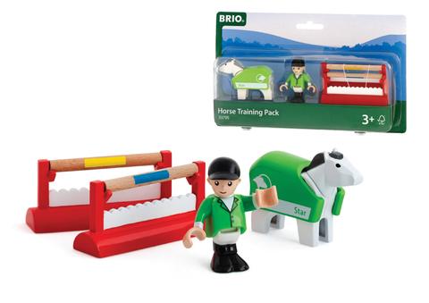 BRIO 33795 Набор для тренировки лошадки с 2 барьерами, 1 фигигрка и попона
