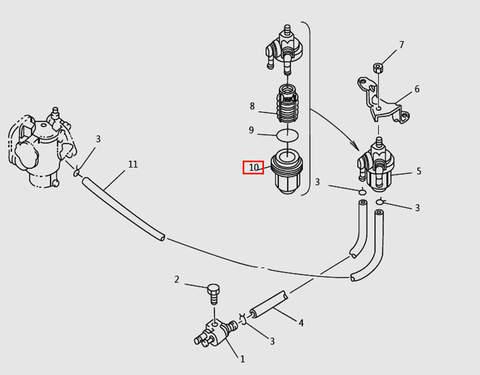 Стакан топливного фильтра для лодочного мотора T9.8 Sea-PRO (6-10)
