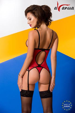 Эротический корсет красного цвета и стринги
