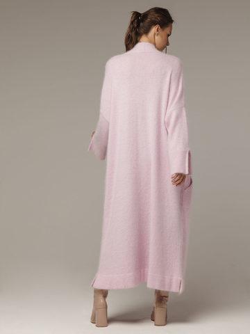 Женский удлиненный розовый жакет с карманами - фото 3