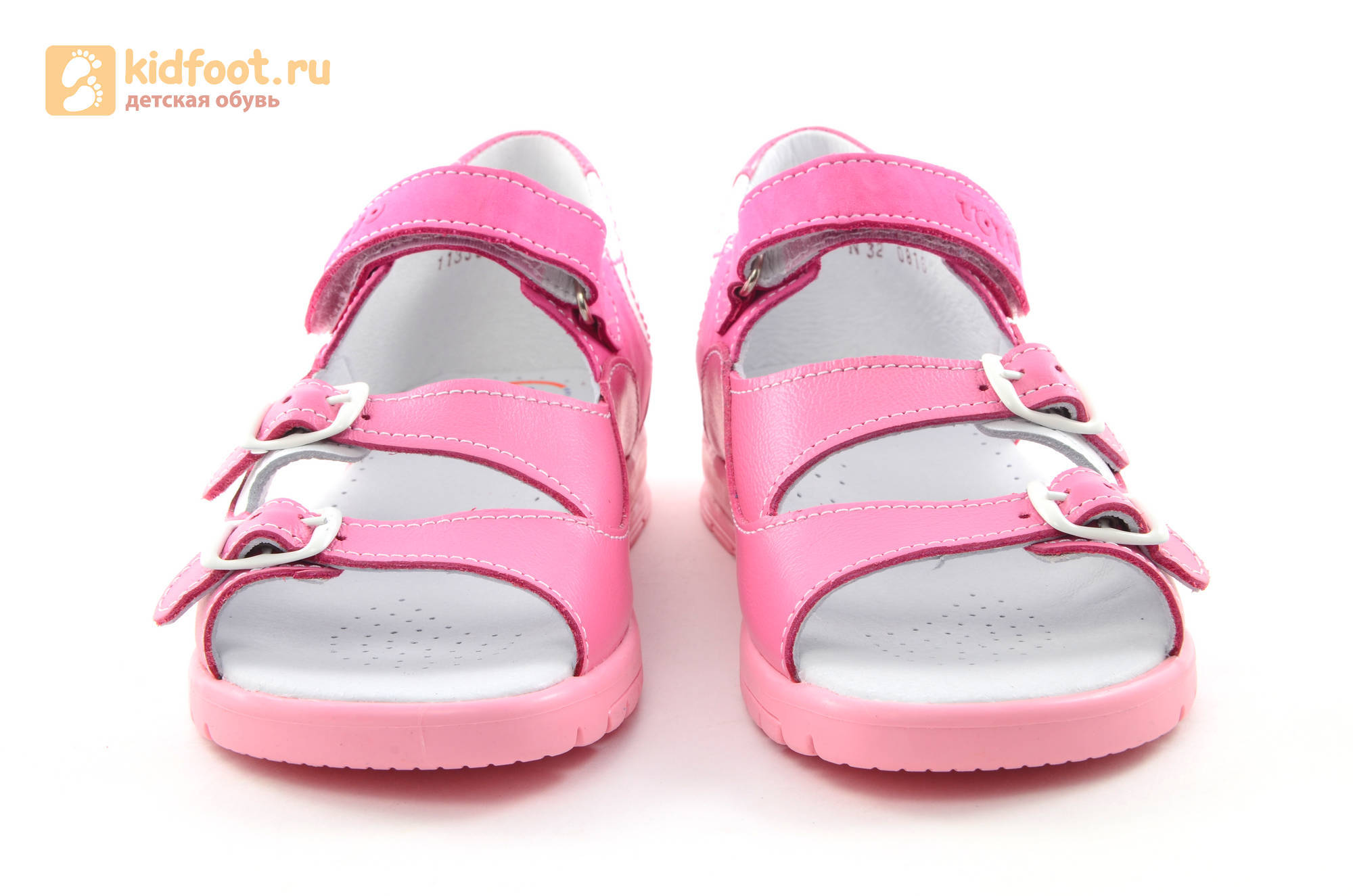Босоножки для девочек из натуральной кожи с открытым носом на липучке Тотто, цвет розовый