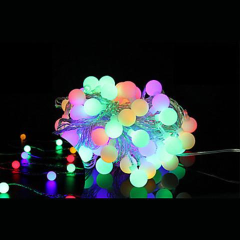 Новогодние разноцветные гирлянды шарики 5 метров LED