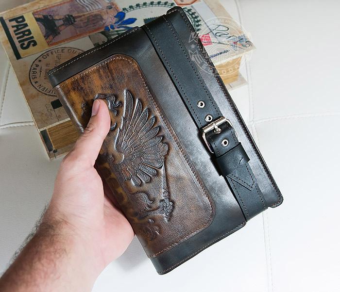 BC120-2 Мужской подарочный ежедневник ручной работы с гербом на обложке фото 11