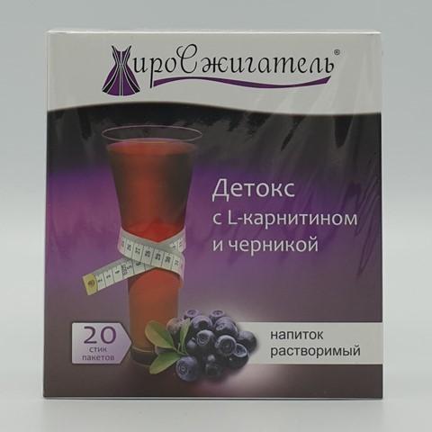 Жиросжигатель Детокс с L- карнитином и черникой напиток растворимый 20 пак по 5 гр BIONOVA, 100 гр