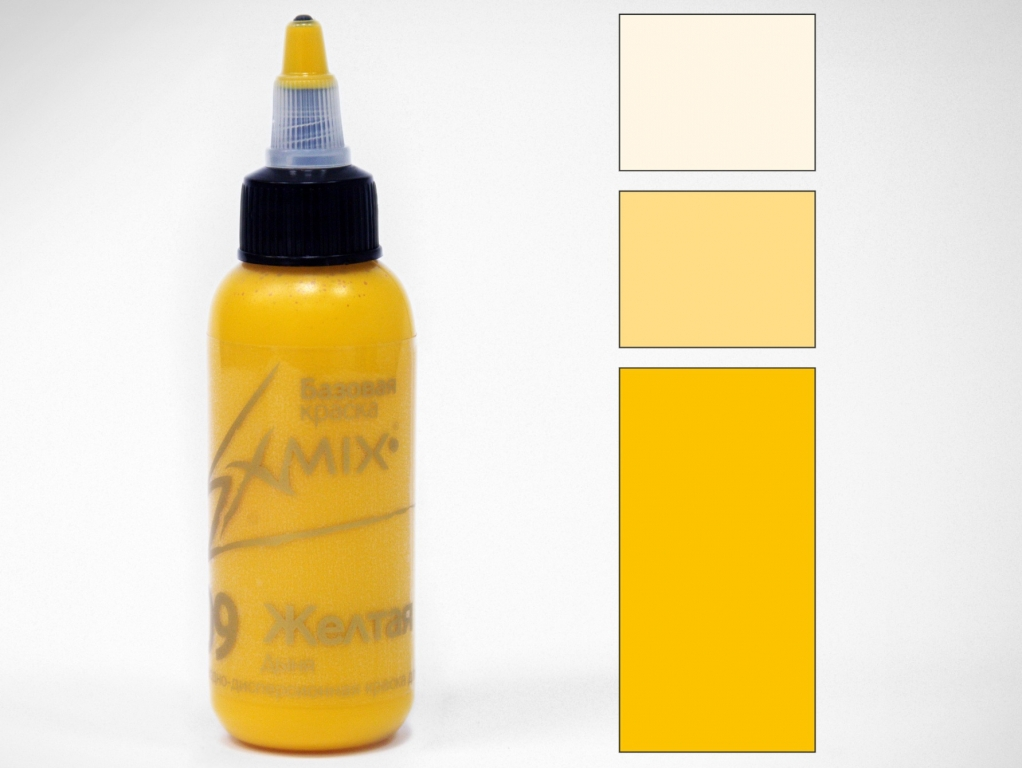 Краска укрывистая Exmix 09 Желтая (теплая) 1000 мл