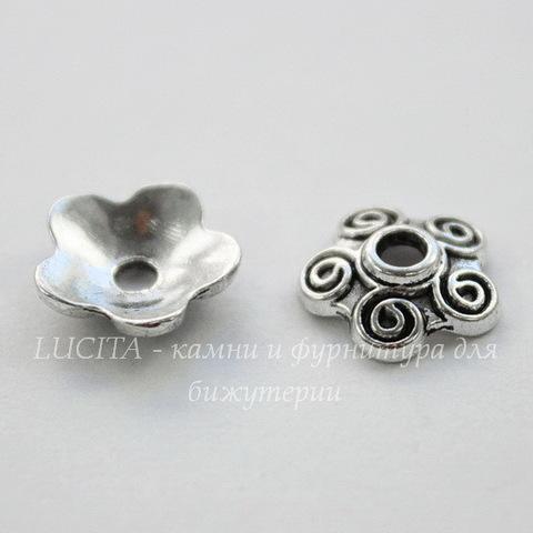 """Шапочка для бусины """"5 завитков""""(цвет - античное серебро) 10х4 мм , 10 штук"""