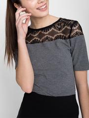 GKT006437 блузка женская, серый меланж