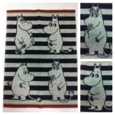 Одеяло детское /плед/ шерсть-эко Klippan, Муми-Тролли, 65x90 см, серо-черный с красным