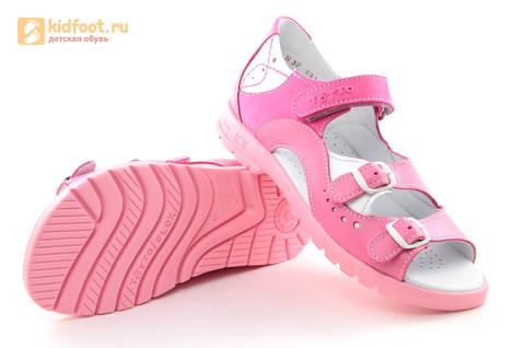 Босоножки для девочек из натуральной кожи с открытым носом на липучке Тотто, цвет розовый. Изображение 9 из 15.