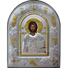 Спас Вседержитель. Икона Иисуса Христа в серебряном окладе.