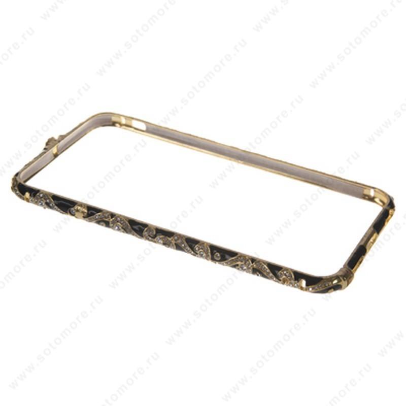 Бампер Heimeiren металический для iPhone 6s Plus/ 6 Plus стразы золото с черным