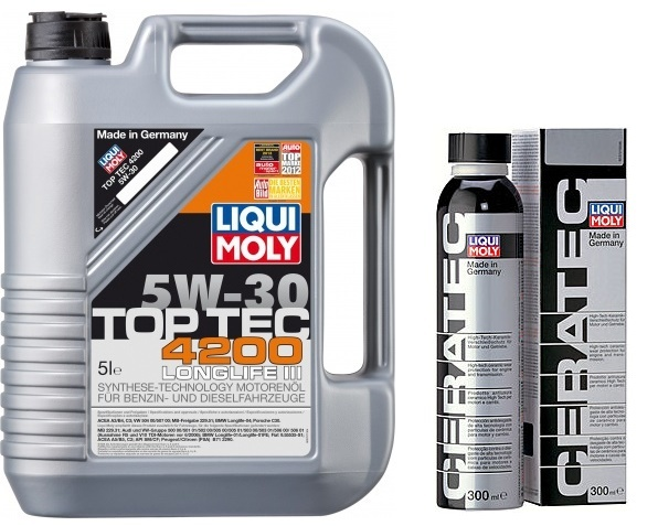 Liqui Moly Ceratec +Масло моторное TOP TEC 4200 5w30 (5л) - набор для двигателя автомобиля