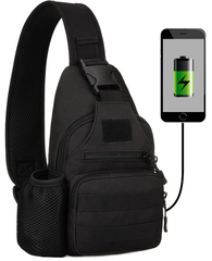 Тактический однолямочный рюкзак Protector Plus X-223 USB Черный