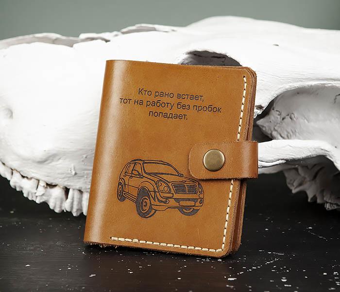 WB184-2 Обложка для авто документов ручной работы фото 01