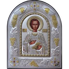 Пантелеймон Целитель. Икона в серебряном окладе.