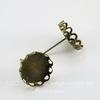 Пуссеты - гвоздики с сеттингом с ажурным краем для кабошона 12 мм (цвет - античная бронза)(без заглушек)