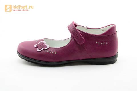 Туфли Тотто из натуральной кожи на липучке для девочек, цвет Лиловый,  10204C. Изображение 3 из 16.