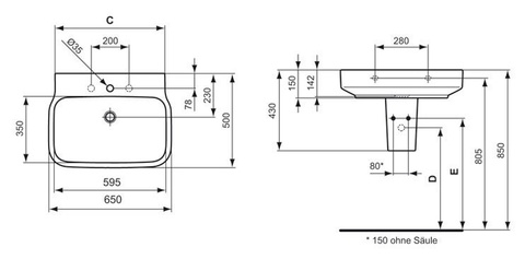 Раковина Ideal Standard Simply U T012901 65х50см схема