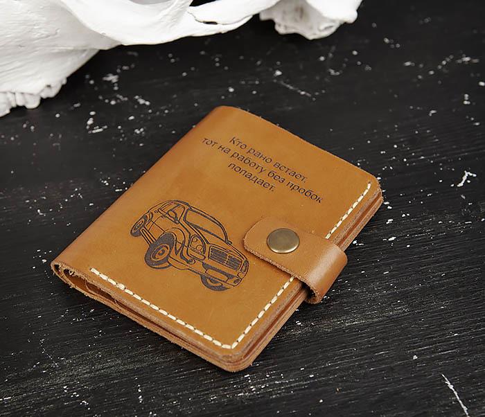 WB184-2 Обложка для авто документов ручной работы фото 03