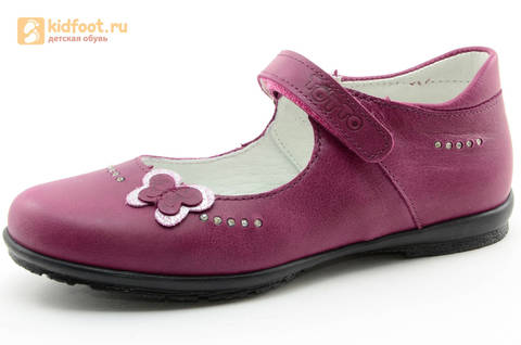 Туфли Тотто из натуральной кожи на липучке для девочек, цвет Лиловый,  10204C. Изображение 1 из 16.
