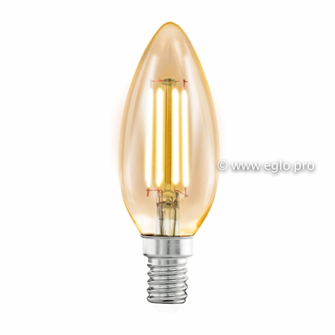 Лампа LED филаментная из стекла янтарного цвета Eglo AMBER LM-LED-E14 4W 220Lm 2200K C35 11557
