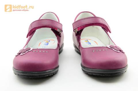 Туфли Тотто из натуральной кожи на липучке для девочек, цвет Лиловый,  10204C. Изображение 5 из 16.