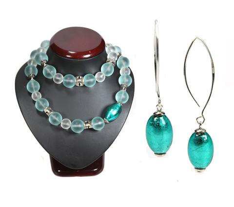 Комплект Onda del mare цвет изумрудный (серьги и ожерелье)