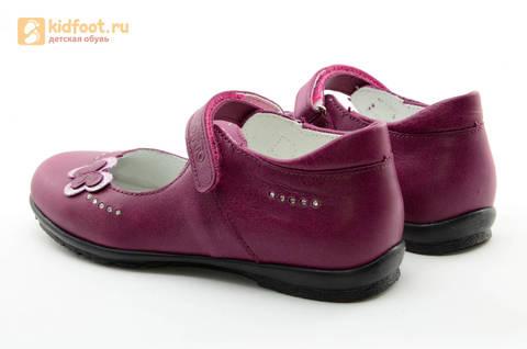 Туфли Тотто из натуральной кожи на липучке для девочек, цвет Лиловый,  10204C. Изображение 7 из 16.