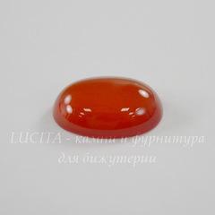 Кабошон овальный Агат красный, 18х13х5,5 мм