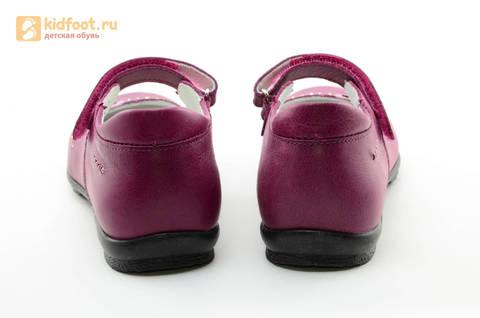 Туфли Тотто из натуральной кожи на липучке для девочек, цвет Лиловый,  10204C. Изображение 8 из 16.